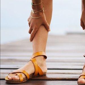 Safi Tan Cross Straps Sandals by Roxy